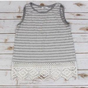 Bailey 44 Small Sleeveless Gray White Striped Top